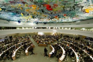 Le Conseil des Droits de l'Homme en session au Palais des Nations à Genève (Suisse).