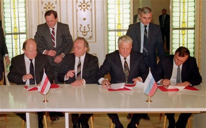 On December 8, 1991 Presidents Chukchievich of Bielorussia, Yeltsin of Russia, and Kravchuk of Ukraine (not pictured) signed the Belavezha Accords which effectively put an end to the existence of the Soviet Union and replaced it with the Commonwealth of Independent States. If it hadn't been for Ukraine and President Kravchuk, none of this would have been possible.