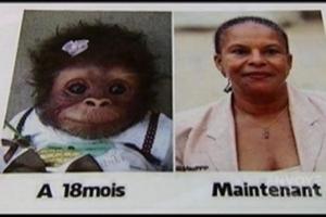 Dans l'émission Envoyé Spécial de France 2, une candidate investie pour les prochaines municipales par le Front National, parti français d'extrême droite, a montré avec fierté un odieux montage photo de sa composition dans lequel elle compare la Ministre française de la Justice à un singe parce qu'elle est de couleur noire.