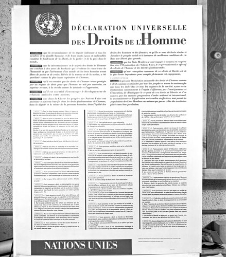La Déclaration universelle des Droits de l'Homme en langue française, langue maternelle de son principal créateur, le Français René Cassin.
