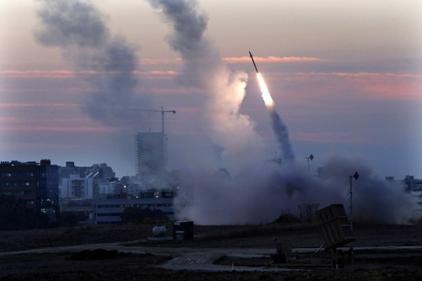 A rocket being fired by the Israeli Defense Force (IDF) to counter an incoming rocket attack from Gaza. (AP Photo/Tsafrir Abayov)