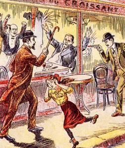 Illustration de l'époque. Le 31 juillet 1914, Raoul Villain, âgé de vingt-neuf ans, tire sur Jaurès qui succombe à une hémorragie cérébrale.