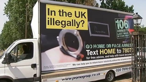 "In 2013 the Conservative-led Government of the United Kingdom publicly called on undocumented migrants to ""go home or face arrest"", a move that was basically inhumane and completely out of place. ( (C) Socialist Party of Great Britain)"