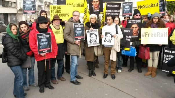 On January 23 Amnesty International France and Reporters Without Borders held a protest before the Saudi Arabian Embassy in Paris in support of blogger Raif Badawi. (C) Bernard J. Henry/AWC