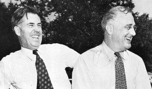 Henry A. Wallace (left), Vice-President of the United States from 1941 to 1945. After the third and final reelection of Franklin Delano Roosevelt (right) to the presidency in 1944, Wallace was succeeded by Harry S. Truman, who himself succeeded Roosevelt as President of the United States after Roosevelt died on April 12, 1945.
