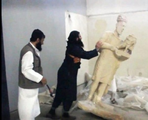 The shameless destruction by ISIS members of historical treasures Iraq will never be able to get back.