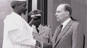 Hissène Habré, then President of Chad, and his French counterpart François Mitterrand on the doorsteps of the Elysée Palace in Paris, France on October 21, 1989. Habré was then an African head of state to be reckoned with; now he is a suspect in the dock of an African court and can no longer run away from his deeds. (C) Reuters/Christine Grunnet